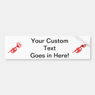 trumpet abstract with spikes red.png bumper sticker