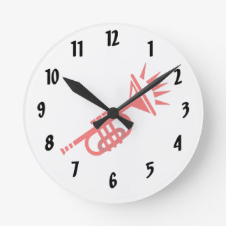 trumpet abstract with spikes red.png round clock