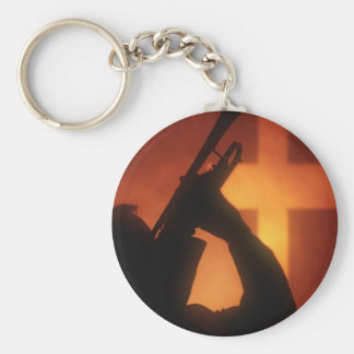 Trumpet and Cross Keychain