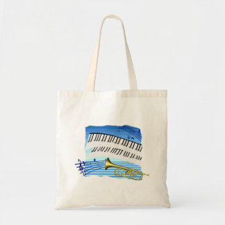 Trumpet and Keyboard, blue theme graphic music Canvas Bags