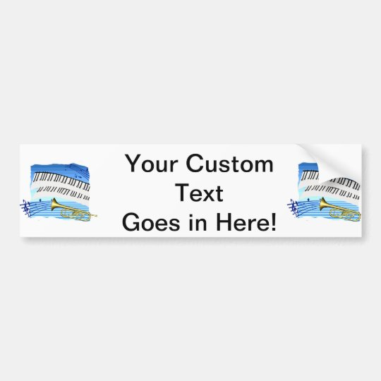 Trumpet and Keyboard, blue theme graphic music Bumper Sticker