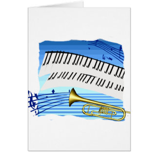 Trumpet and Keyboard, blue theme graphic music Greeting Card