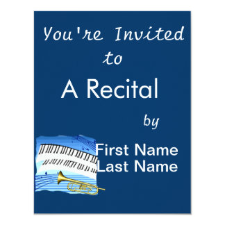 Trumpet and Keyboard, blue theme graphic music Card