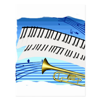 Trumpet and Keyboard, blue theme graphic music Postcard