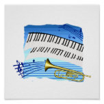 Trumpet and Keyboard, blue theme graphic music Posters