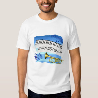 Trumpet and Keyboard, blue theme graphic music Tee Shirt