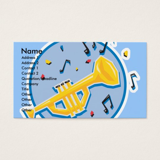 trumpet and music notes business card