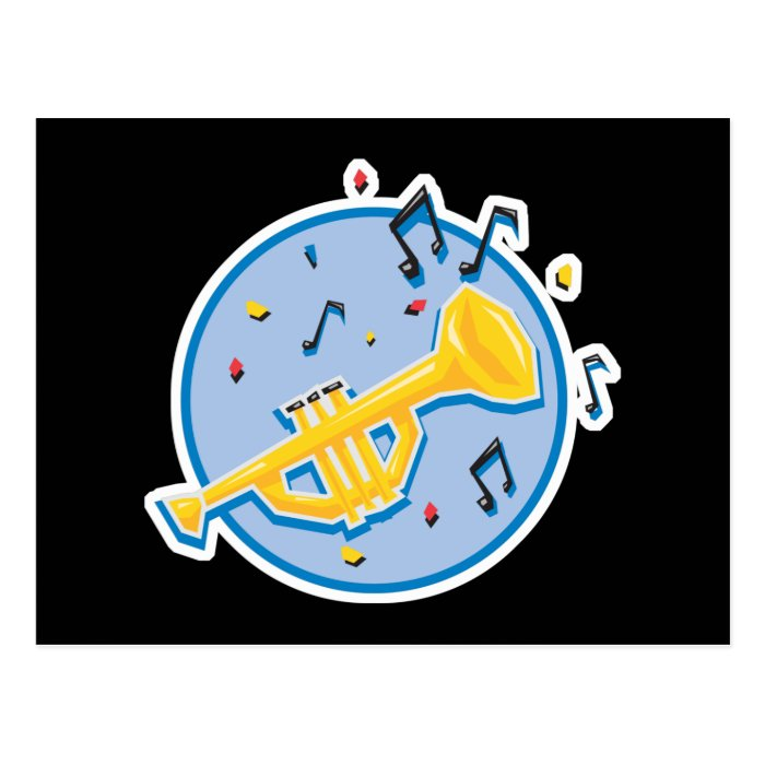 trumpet and music notes postcard