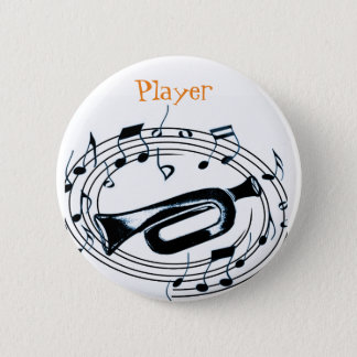 Trumpet and Musical Notes Pinback Button