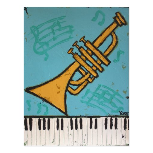 trumpet and piano musical postcard