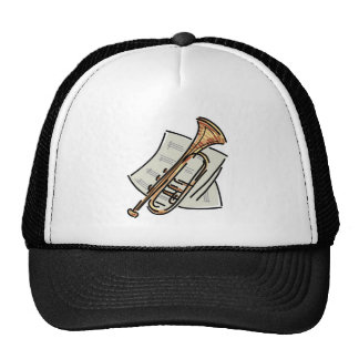 trumpet and sheet music mesh hats
