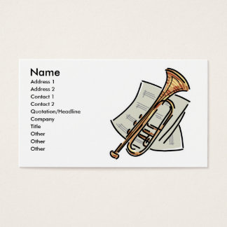 trumpet and sheet music, Name, Address 1, Addre... Business Card