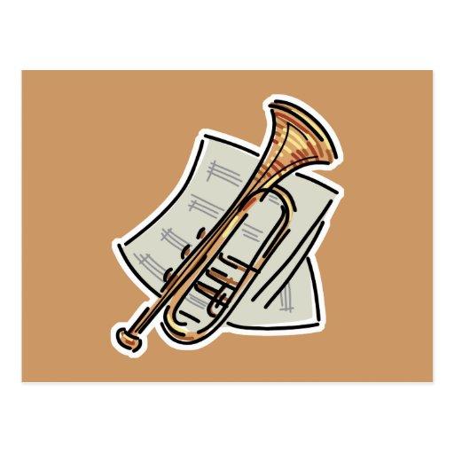 trumpet and sheet music postcard