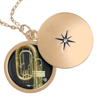Trumpet and Tuba Gold Plated Necklace