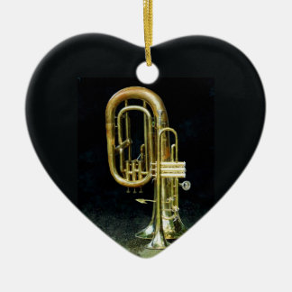 Trumpet And Tuba Double-Sided Heart Ceramic Christmas Ornament
