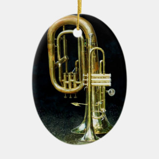Trumpet And Tuba Double-Sided Oval Ceramic Christmas Ornament