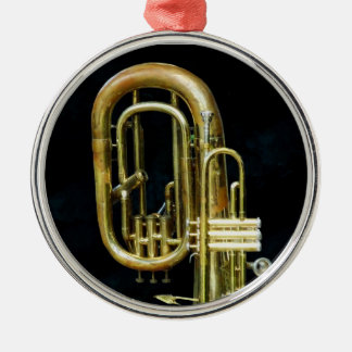 Trumpet And Tuba Round Metal Christmas Ornament