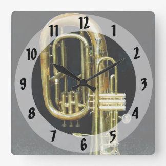 Trumpet And Tuba Square Wall Clock