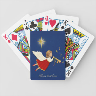 Trumpet Angel and Christmas Star Bicycle Playing Cards