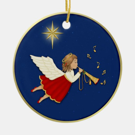 Trumpet Angel and Christmas Star Double-Sided Ceramic Round Christmas Ornament