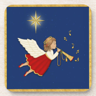 Trumpet Angel and Christmas Star Drink Coaster