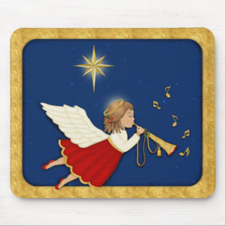 Trumpet Angel and Christmas Star Mouse Pad