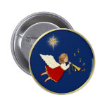 Trumpet Angel and Christmas Star Pinback Buttons