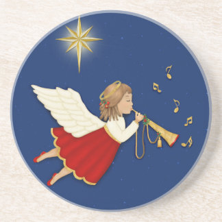 Trumpet Angel and Christmas Star Sandstone Coaster