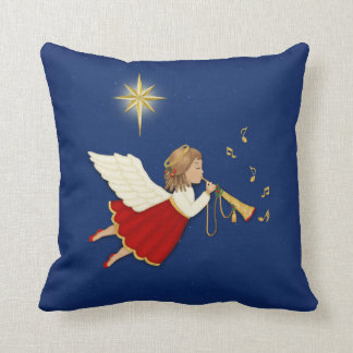 Trumpet Angel and Christmas Star Throw Pillow