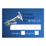 Trumpet Blue and Silver Response Custom Invites