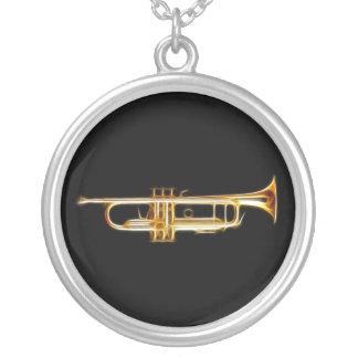 Trumpet Brass Horn Wind Musical Instrument Round Pendant Necklace
