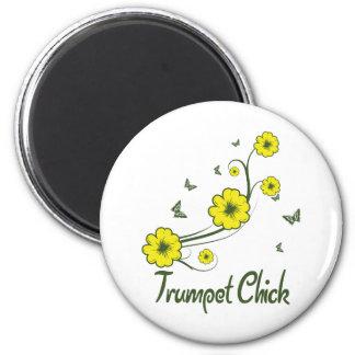 Trumpet Chick 2 Inch Round Magnet