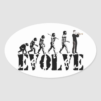 Trumpet Cornet Bugle Band Musical Music Evolution Oval Stickers