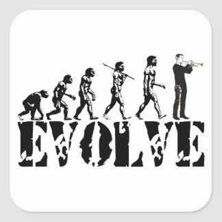Trumpet Cornet Bugle Band Musical Music Evolution Square Stickers