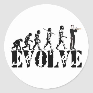 Trumpet Cornet Bugle Band Musical Music Evolution Round Stickers