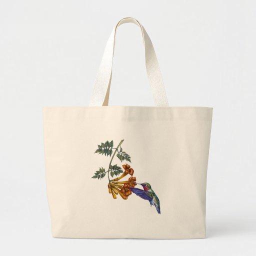 Trumpet Creeper Ruby Throated Hummingbird Canvas Bags