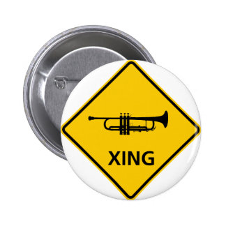 Trumpet Crossing Highway Sign Pinback Button