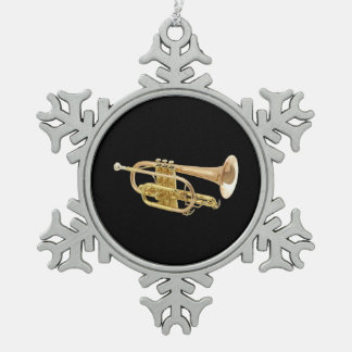 """Trumpet"" design gifts and products Snowflake Pewter Christmas Ornament"