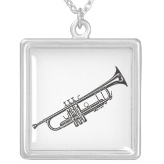 """Trumpet """"Drawing"""" Square Pendant Necklace"""
