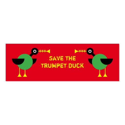 Trumpet Duck bookmark Double-Sided Mini Business Cards (Pack Of 20)