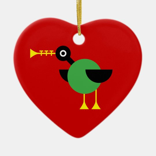 Trumpet Duck Ceramic Ornament