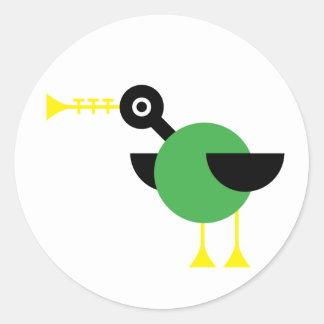 Trumpet Duck Classic Round Sticker