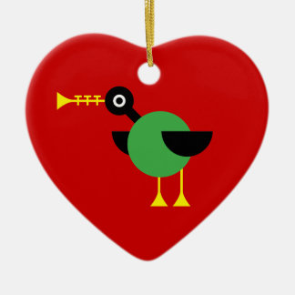 Trumpet Duck Double-Sided Heart Ceramic Christmas Ornament