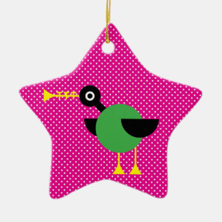 Trumpet Duck Double-Sided Star Ceramic Christmas Ornament