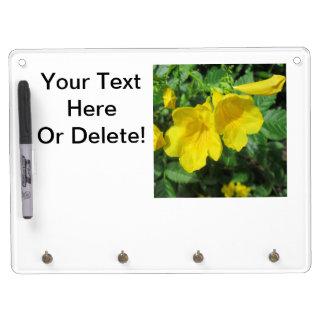 Trumpet Garden Flower Yellow Dry Erase Board With Keychain Holder