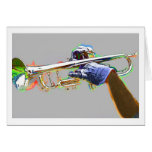Trumpet Highlighted In Psychedelic Colors Card