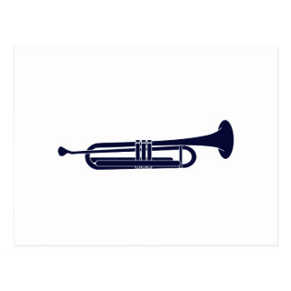 Trumpet Horizontal Solid Blue Musician Graphic Postcard