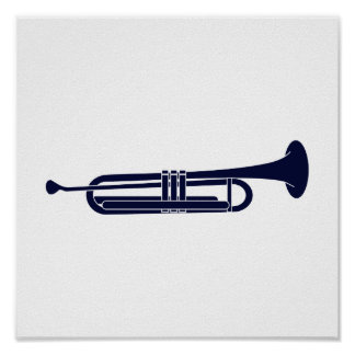 Trumpet Horizontal Solid Blue Musician Graphic Poster