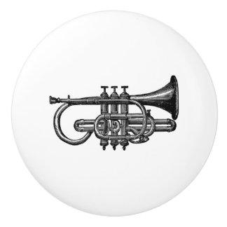Trumpet horn brass instrument vintage musical art ceramic knob