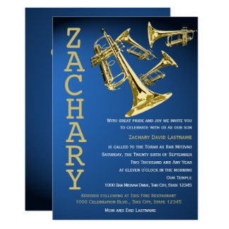 Trumpet Mania Music Blue Gold Bar Mitzvah Card